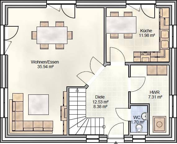 FAM 129 - Grundriss Erdgeschoss als Variante ohne Wintergarten ...