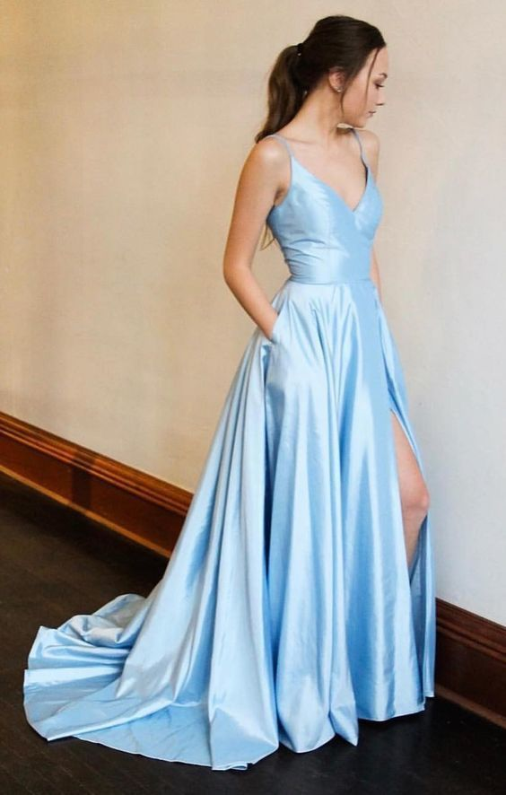 Spaghetti Straps Long Simple Prom Dress with Split Blue Party Dress #bluepromdresses