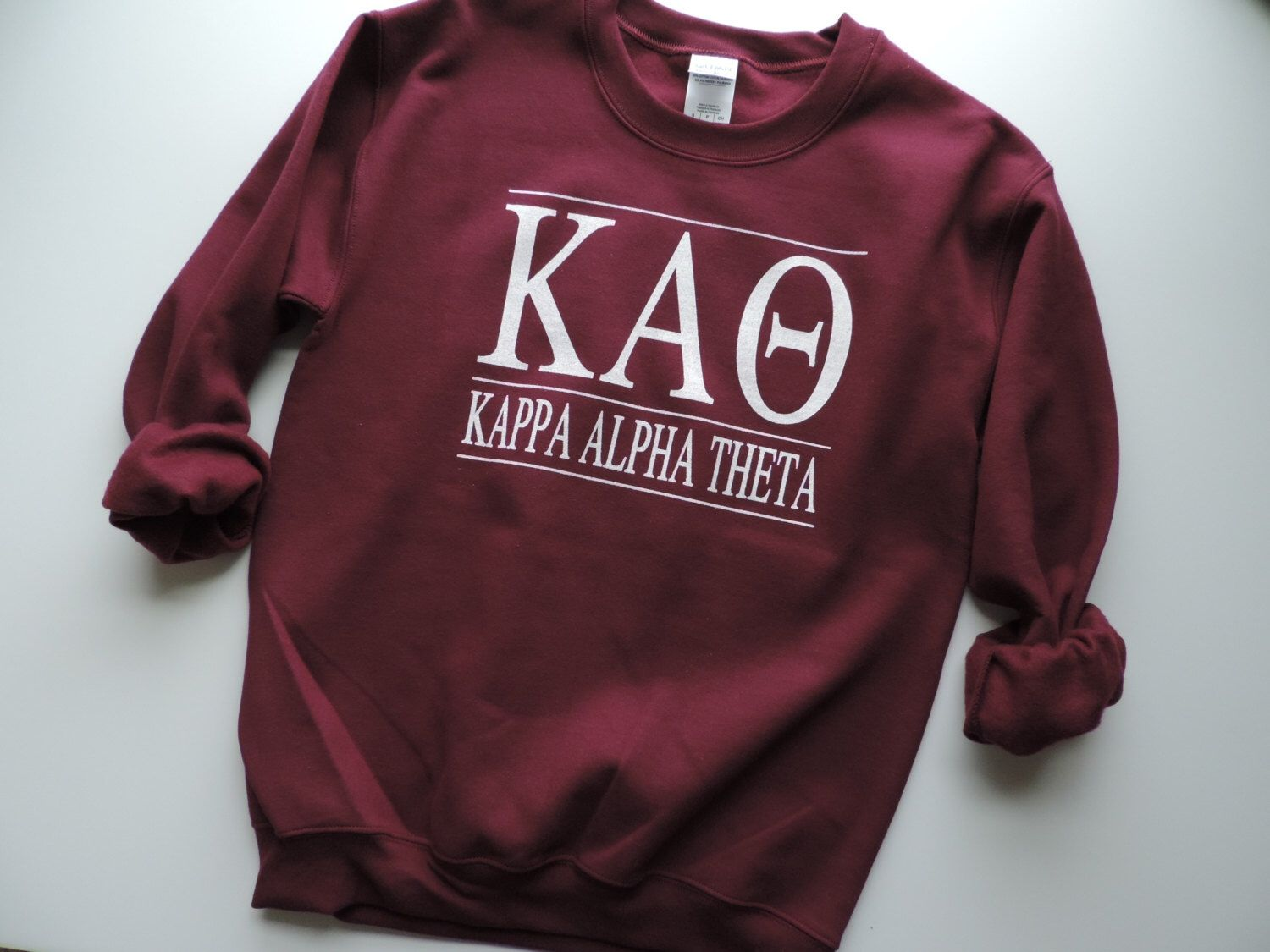 Color printing purdue - New Kappa Alpha Theta Maroon More Stripe Crewneck Sweatshirt Size You Pick Color