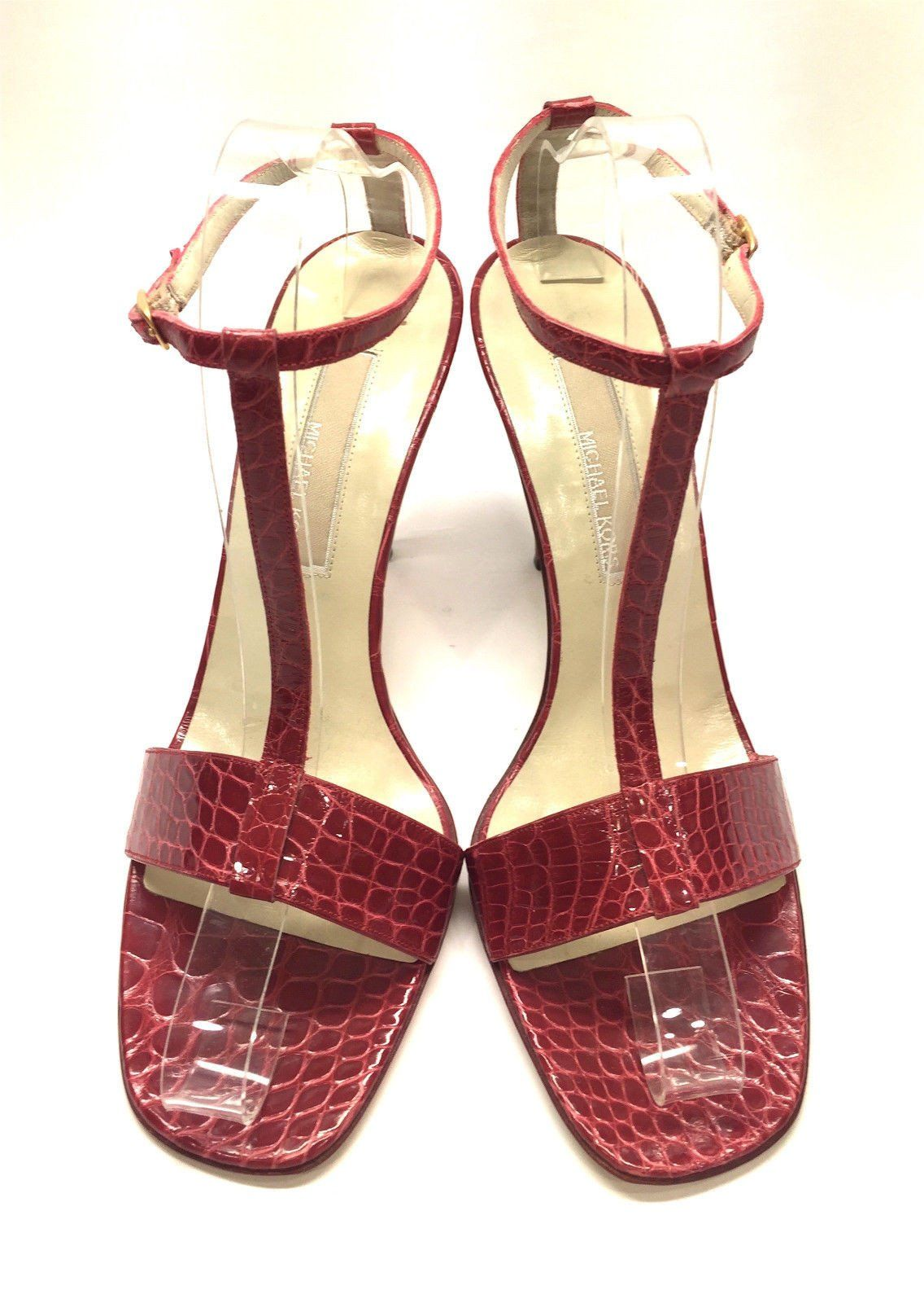 21bb721ebe66 MICHAEL KORS Red Croc-Skin T-Strap Slingbacks Heel Sandals Size  9M ...