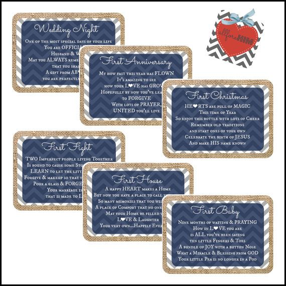 INSTANT DOWNLOAD - Bridal Shower Burlap Wine Basket Gift Tags - Navy - Digital File