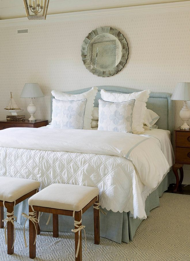 Traditional bedroom with blue and white accents Blue and white
