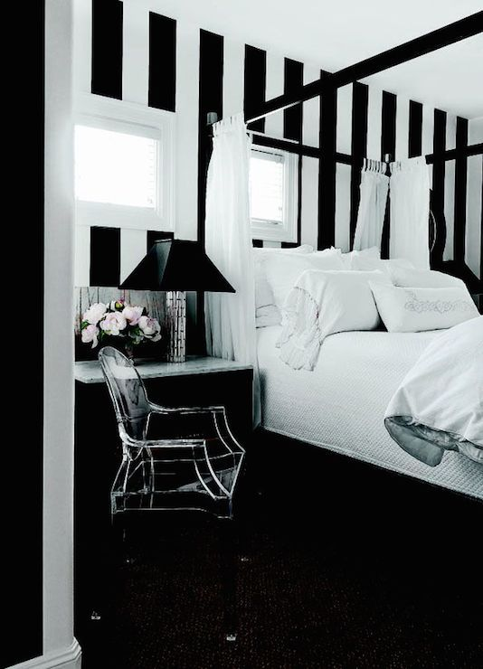 Black And White Vertical Striped Walls Frame Off Set Windows Over