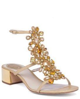 ba91f6ceb crystal-embellished snakeskin t-strap block heel sandals by Rene Caovilla.  Exotic snakeskin sandal with intricate crystal strap.