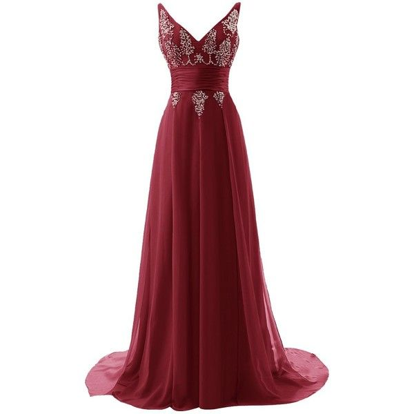 ALAGIRLS Long V Neck Prom Dress Chiffon Sequins Evening Dress (325 BRL) ❤ liked on Polyvore featuring dresses, prom dresses, red prom dresses, long sequin dress, red homecoming dresses and long red dress
