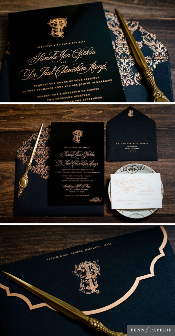Rose Gold and Black Acrylic Wedding Invitation with Timeless Monogr… |  Classy wedding invitations, Acrylic wedding invitations, Wedding invitations  elegant romantic