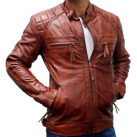 4fcc7048124 Mens Biker Vintage Motorcycle Classic Diamond Brown Distressed Leather  Jacket