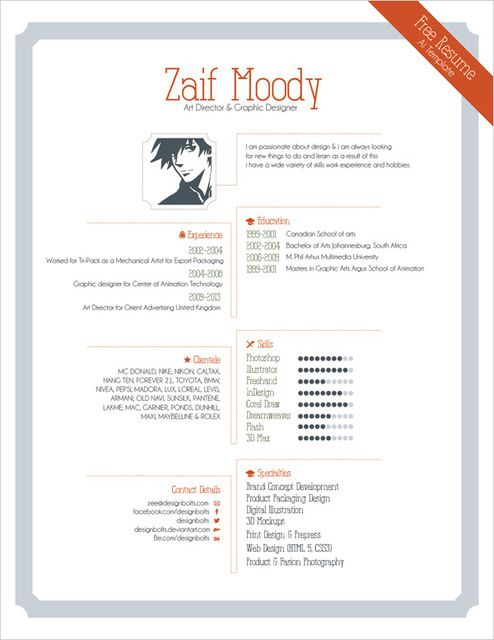 1 page resume design template made for professional graphic designer ...