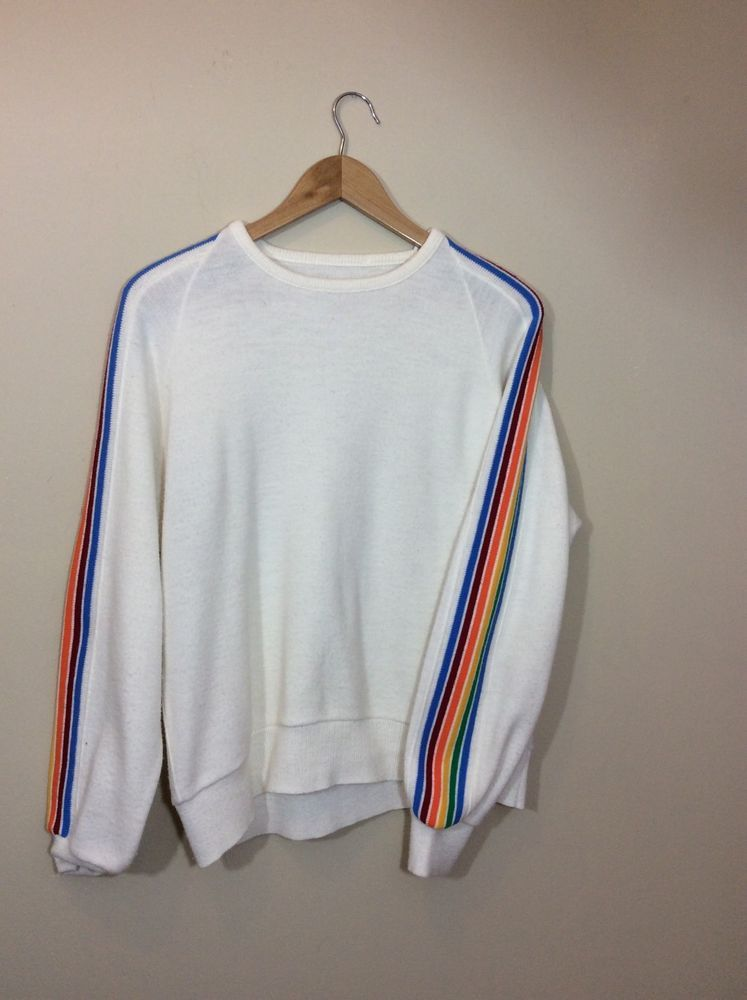 08057e6a4296ac Vintage 70 80s White Rainbow Stripe Sleeve Acrylic Sweater LGBT Large XL  #Unknown #Crewneck