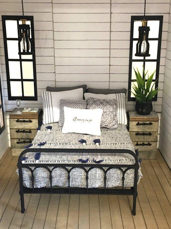 Miniature Dollhouse 1:12 Scale | Farmhouse Wrought Iron Look Bed Kit #miniaturedollhouse