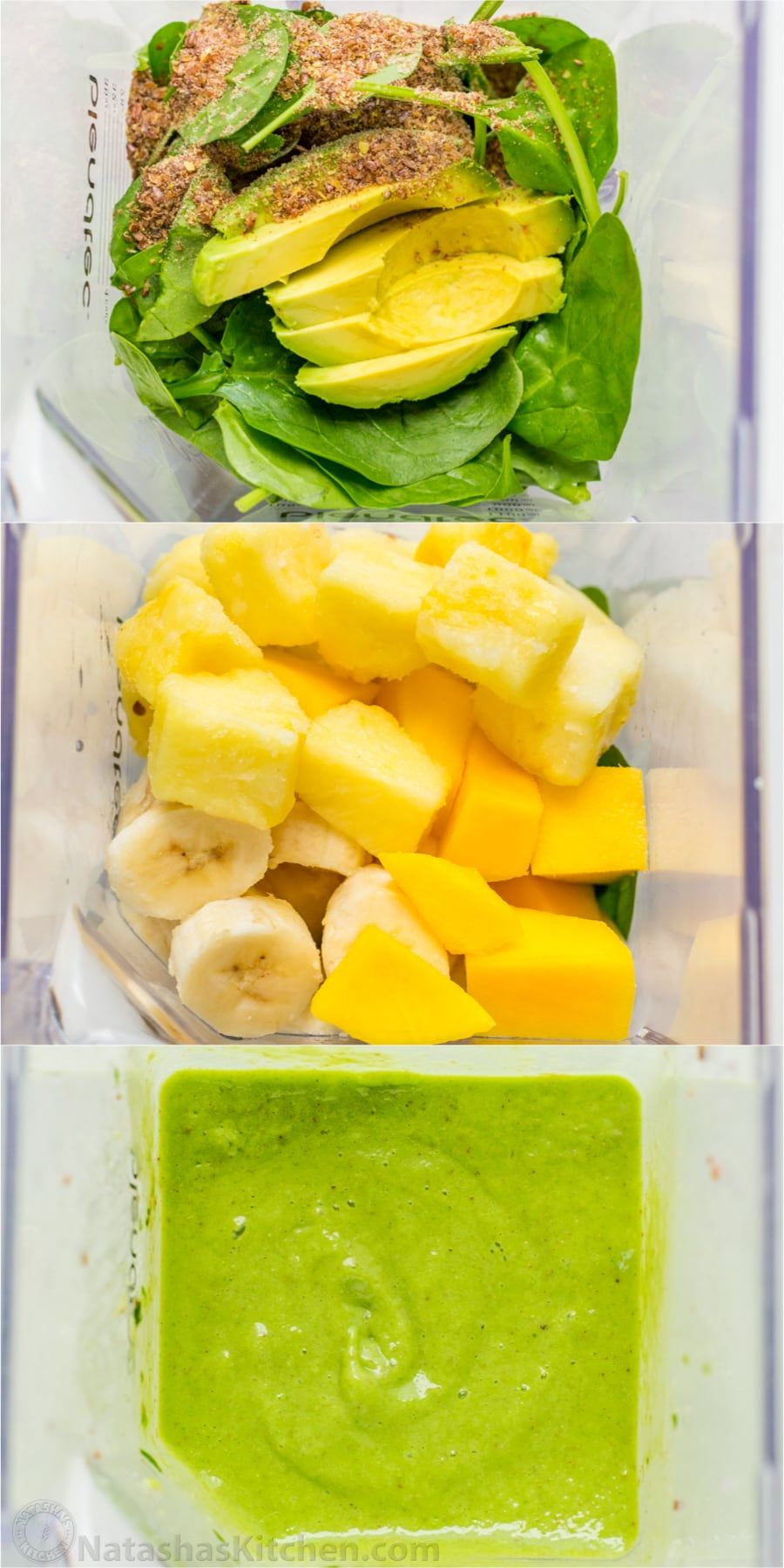 A healthy green smoothie bowl packed with mango pineapple