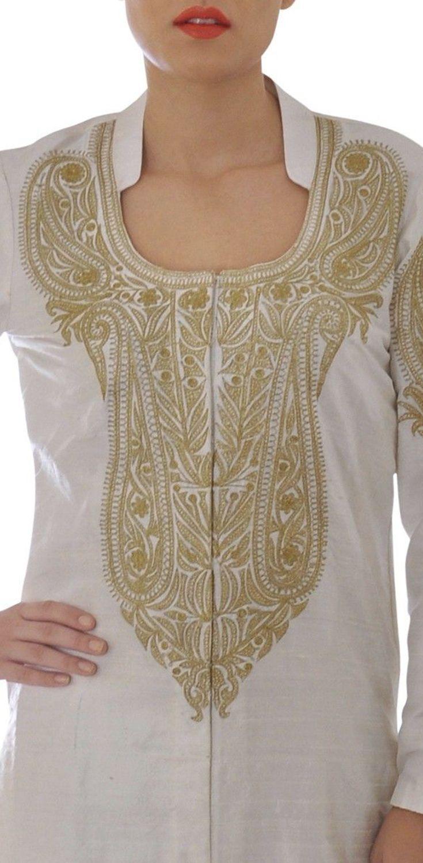 Strange White Tilla Aari Embroidered Pure Raw Silk Suit With Dupatta Frankydiablos Diy Chair Ideas Frankydiabloscom