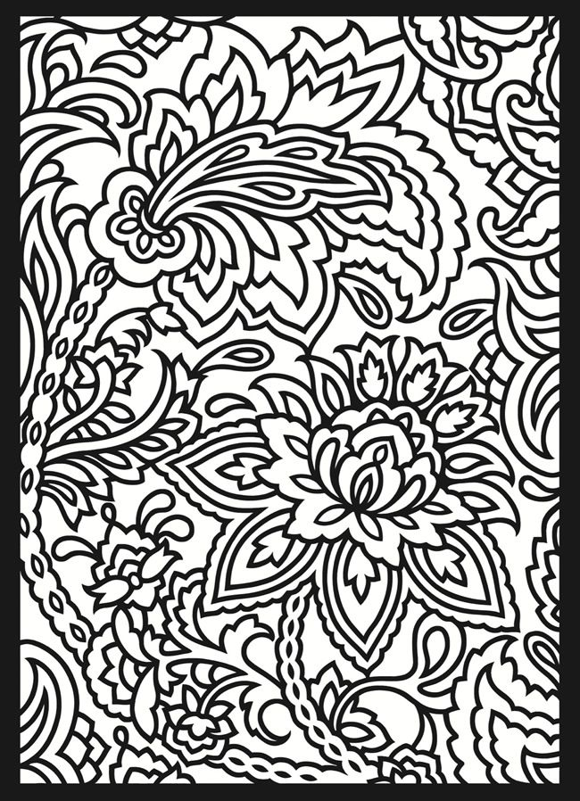 Paisley coloring page that would be an interesting embroidery