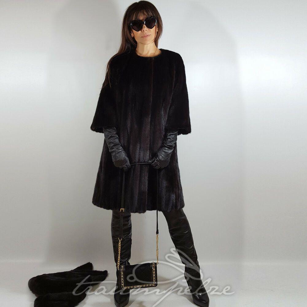 Kapuze Blackglama Fur Coat Nerz Mantel 3 4 Armel Chanel Kragen