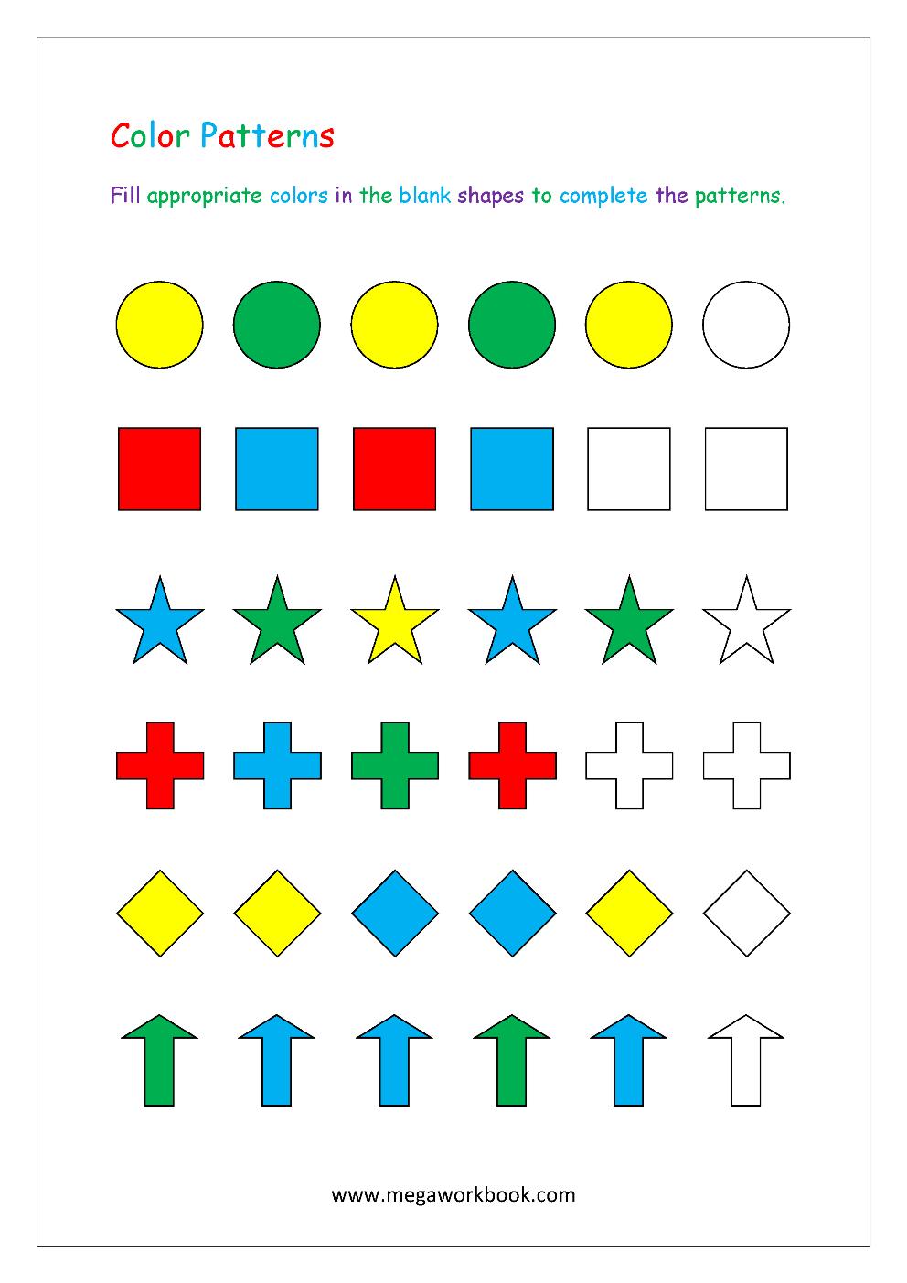 Color Pattern Worksheet Repeating Patterns Mathclassroomdecorations Egitim Okul Okuma