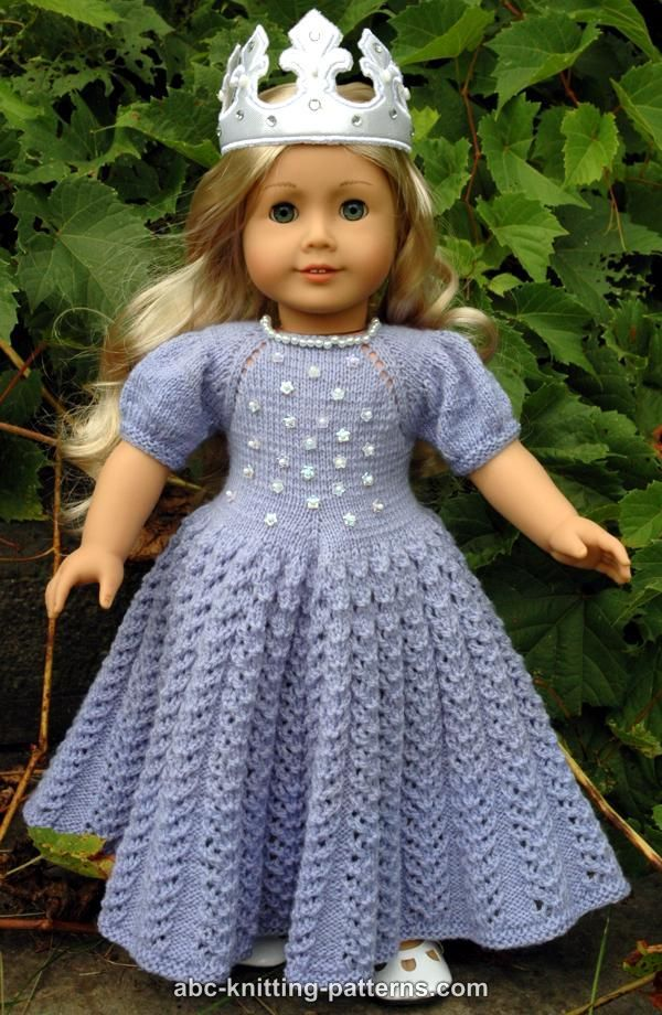 ABC Knitting Patterns - American Girl Doll Snow Princess Dress ...