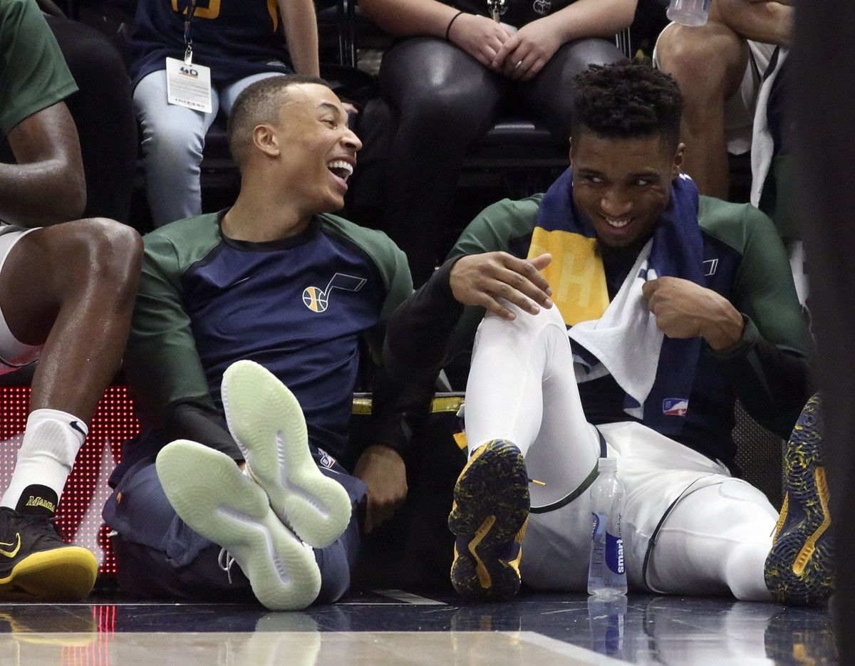 ce0e92acfb904 Utah Jazz guard Dante Exum recounts time he was caught in the Donovan  Mitchell-Ben