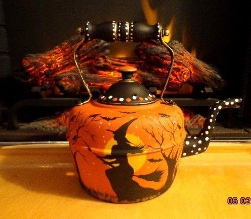 Antique Halloween Witches Black Cats Bats GOOSE Neck Copper Tea Kettle | eBay