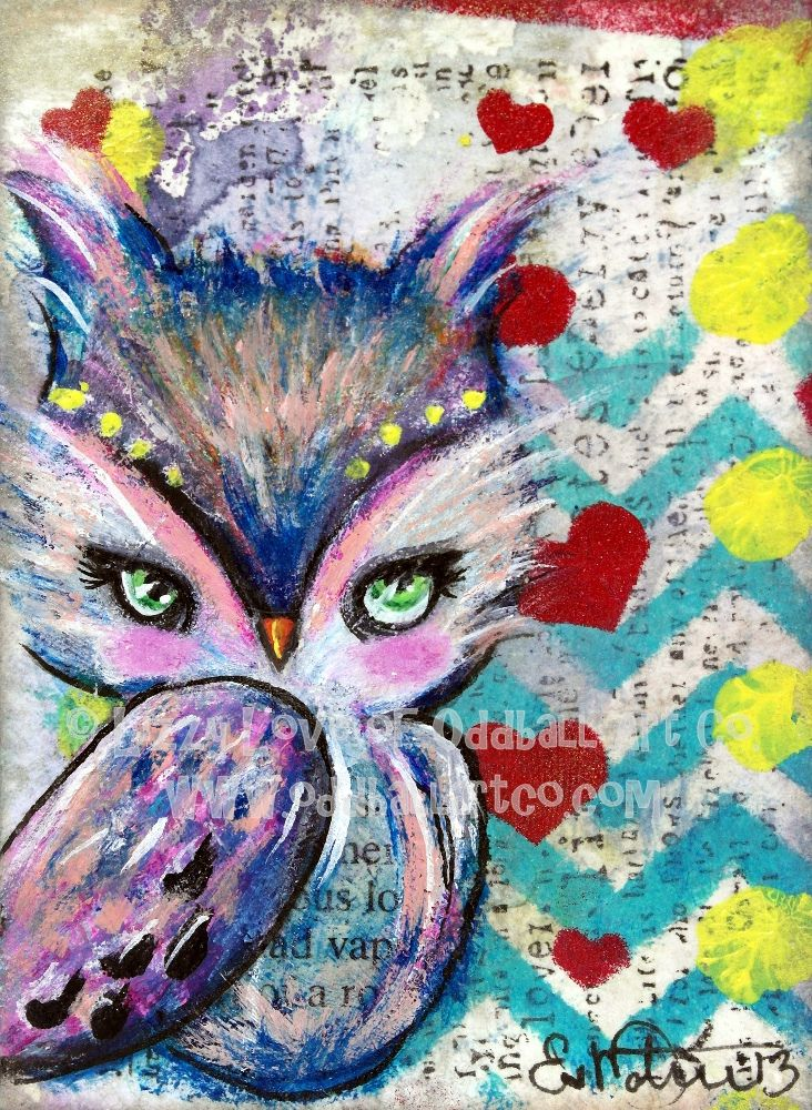https://flic.kr/p/ePA5pf | The Watcher Mixed Media ACEO by Lizzy Love | For prints and originals visit www.oddballartco.etsy.com