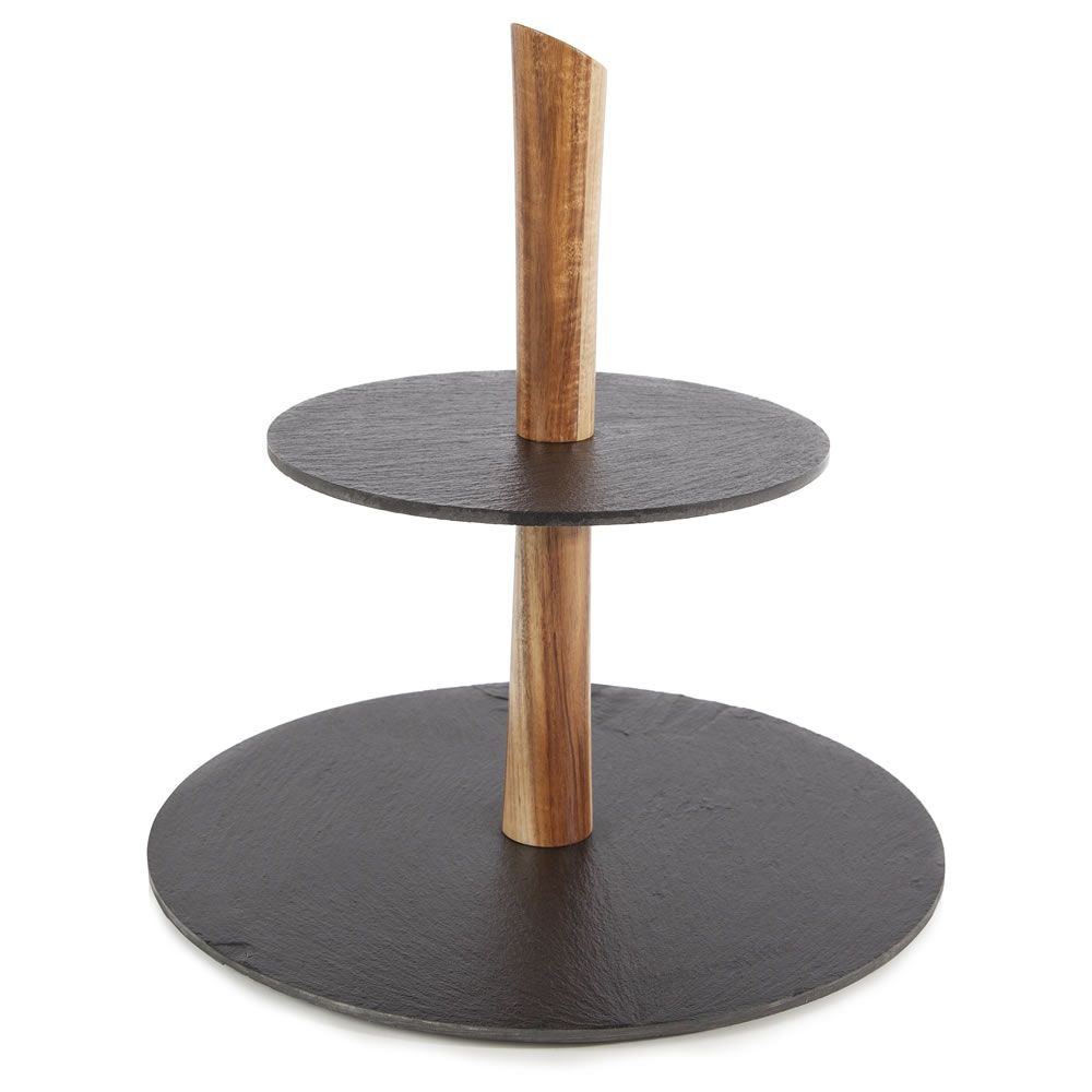 Acacia 2 tier cake tray with slate plate cake tray