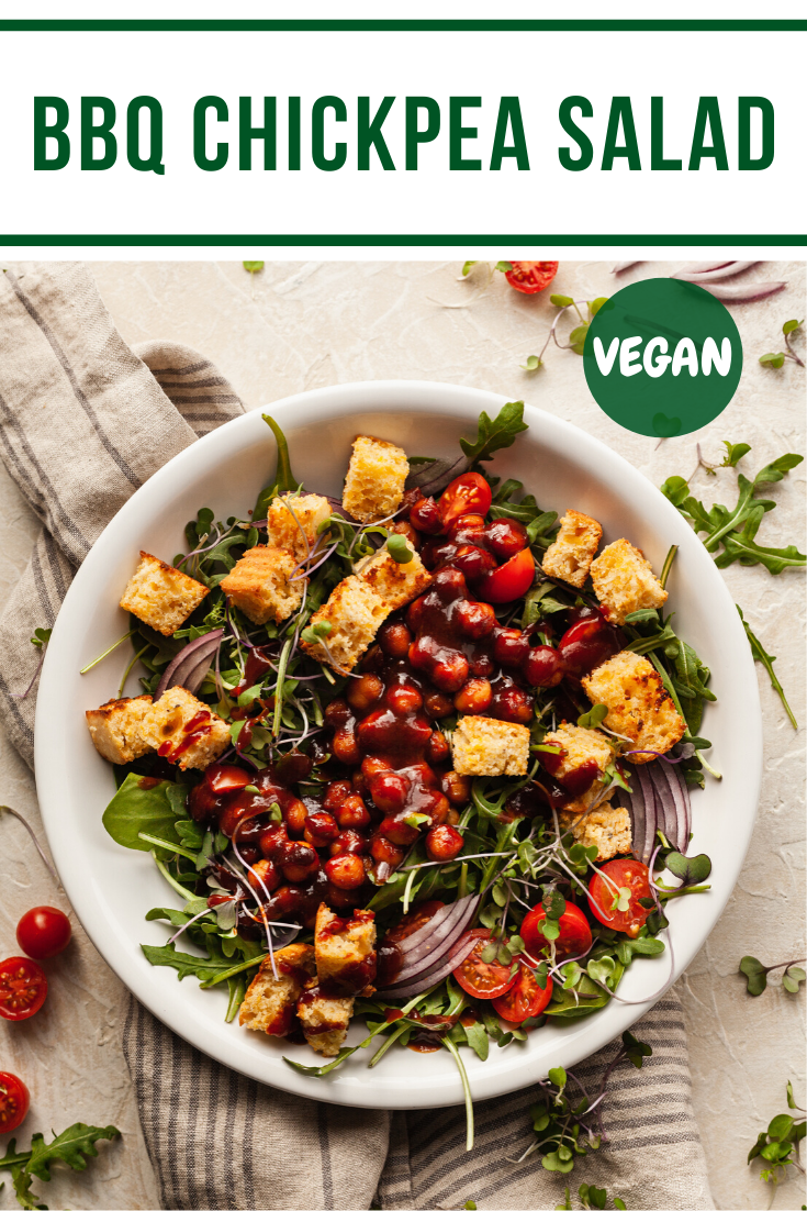 BBQ Chickpea Salad is the best way to enjoy vegan barbecue! This is a hearty salad with lots of flavor. #bbq #vegan #salad