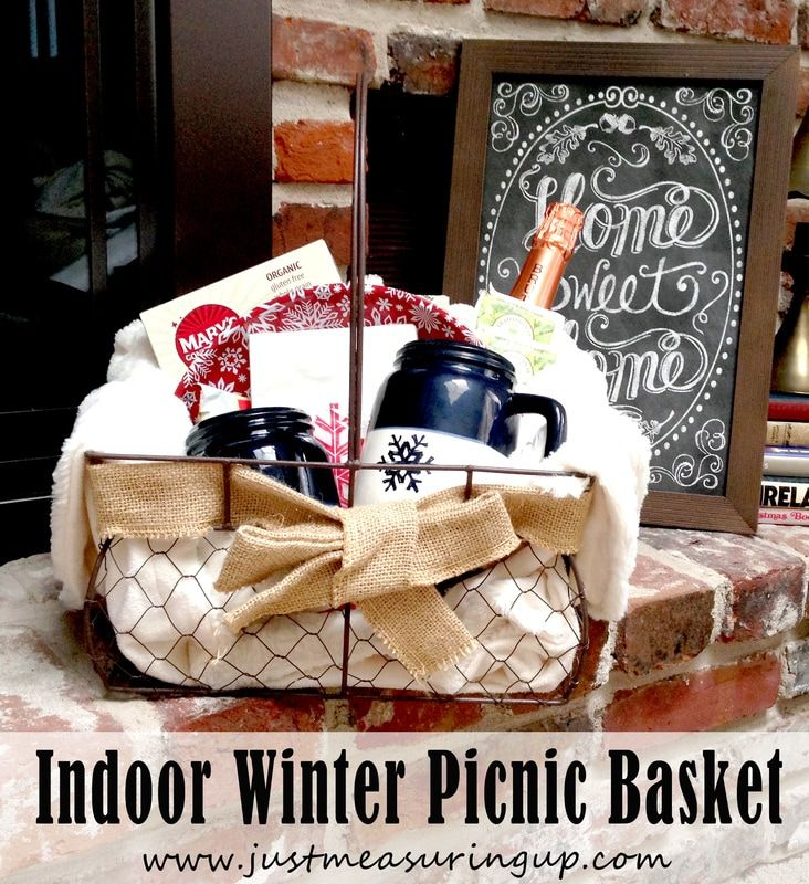 Inexpensive Indoor Winter Picnic Basket - Just Measuring Up -Featured at the Home Matters Linky Party #123