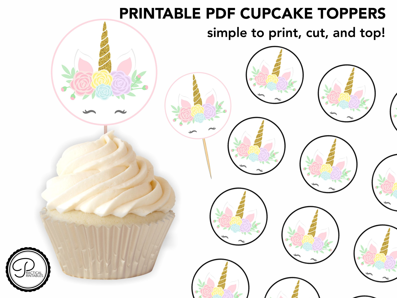 Printable Unicorn Cupcake Toppers