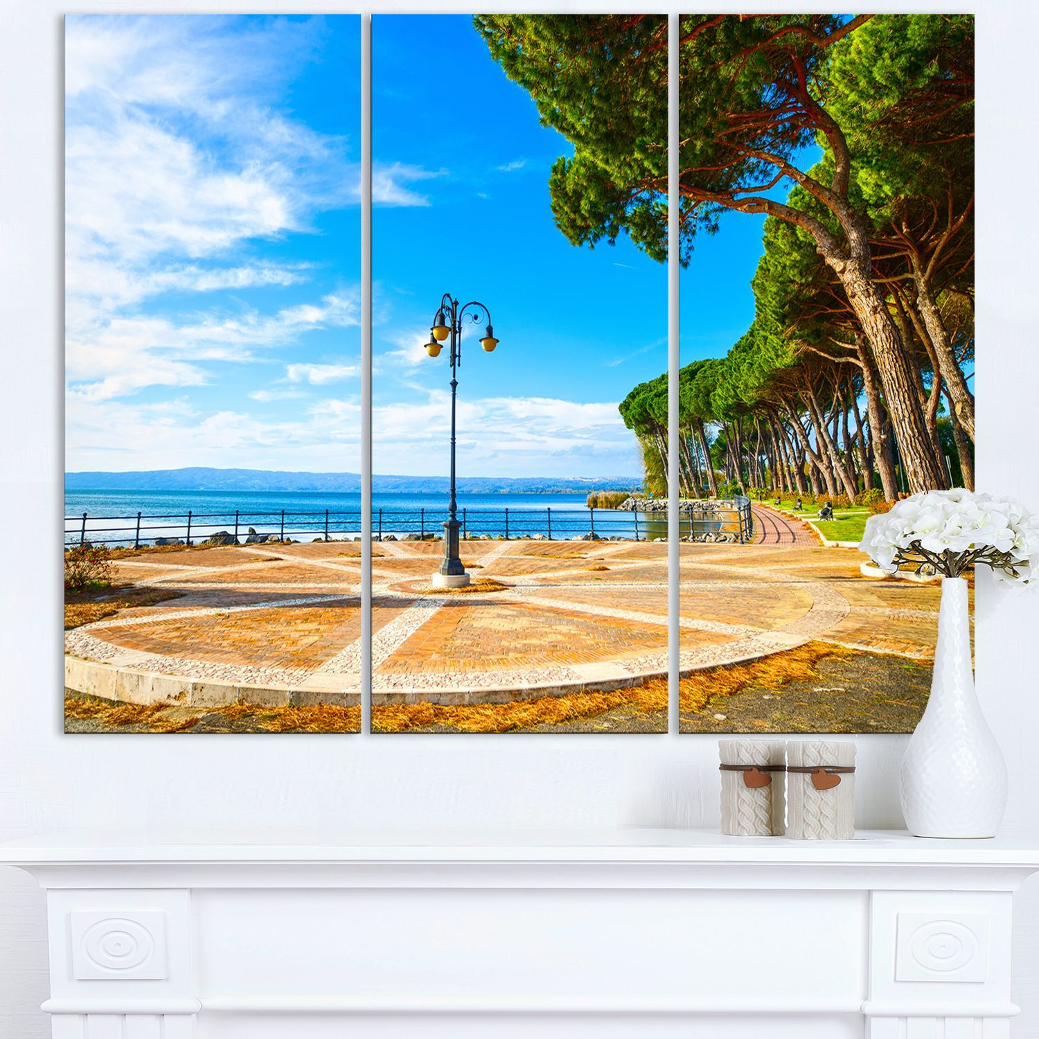 Esplanade and Pine Trees in Bolsena - Oversized Landscape Wall Art Print