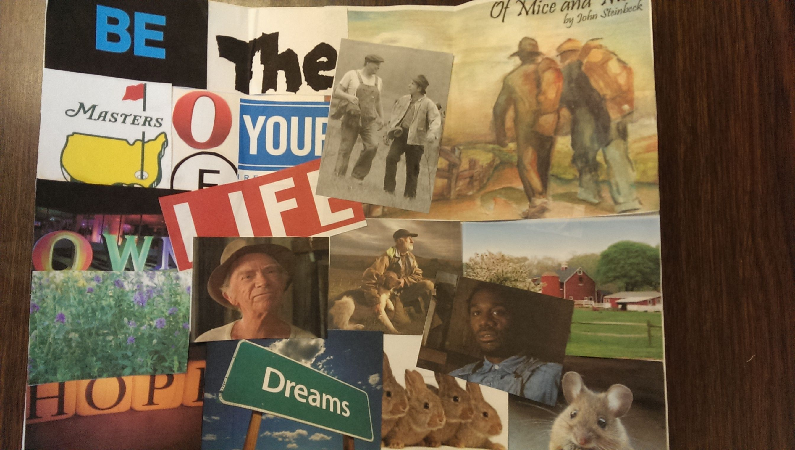 Of Mice And Men Project Create A Collage That Captures One Important Aspect Of The Story This Collage Focuse Of Mice And Men Man Projects 11th Grade English