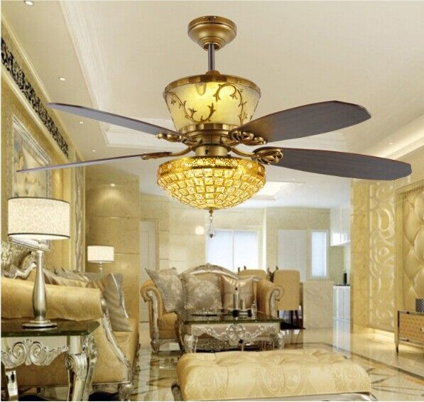 Antique Style Golden And Grey Ceiling Fan Design Ideas For Luxury - Ceiling fans with lights for living room