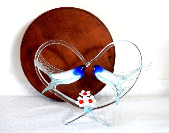Wedding Cake Topper Hand Blown Murano Glass Love