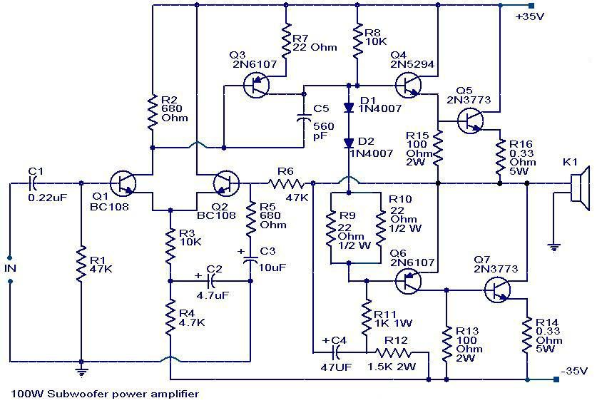 b147a6aa0d3f566b2b52f462ff0690be 100 watts subwoofer amplifier circuit diagram amplifiers  at soozxer.org