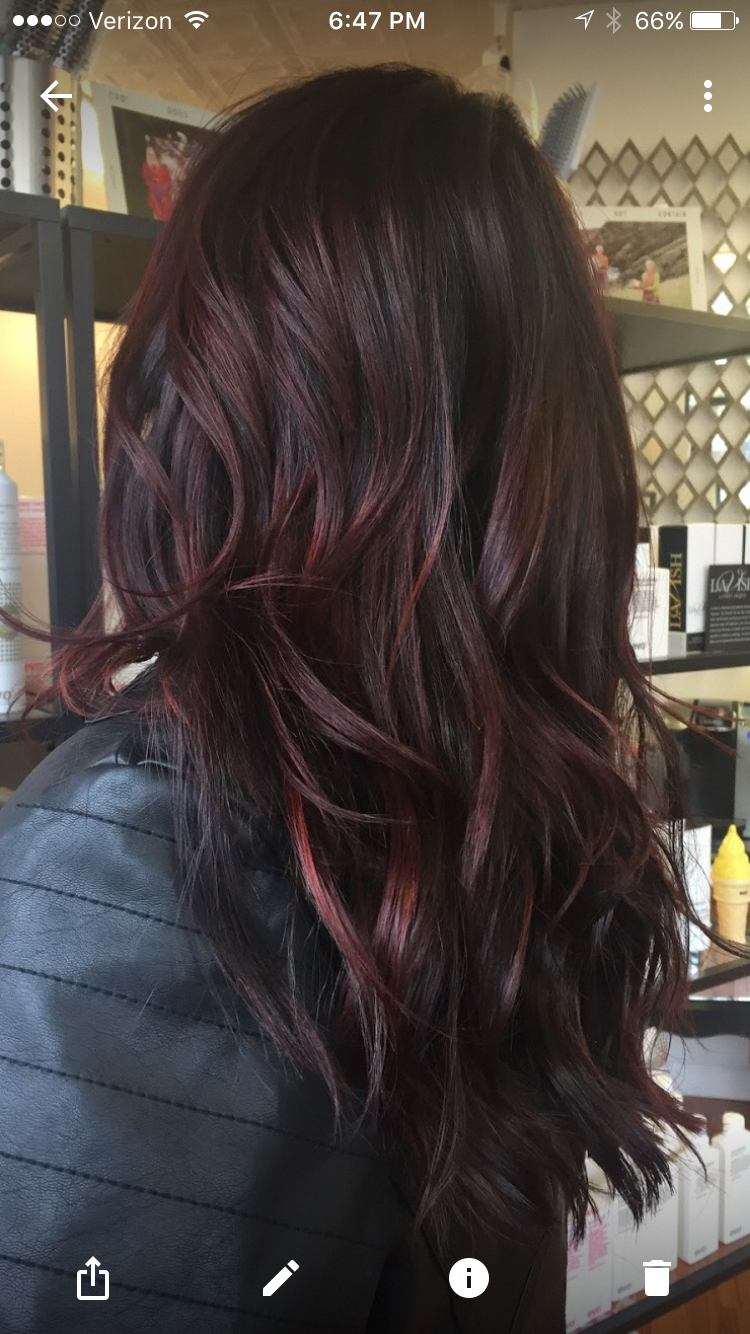 Dark Hair With Red Highlights Red Hair With Hair Redhair Darkbrownhair In 2020 Red Balayage Hair Brunette Hair Color Dark Auburn Hair
