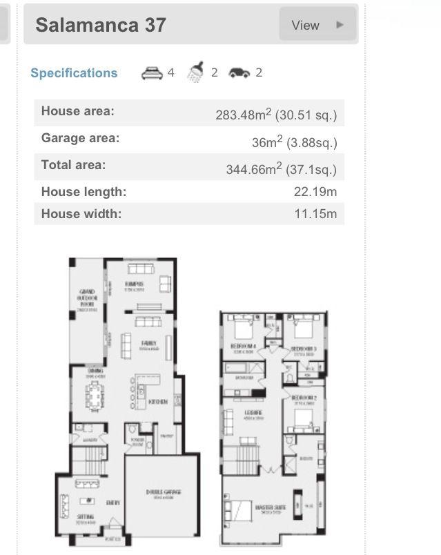 New home plan, narrow block, short block small house Pinterest