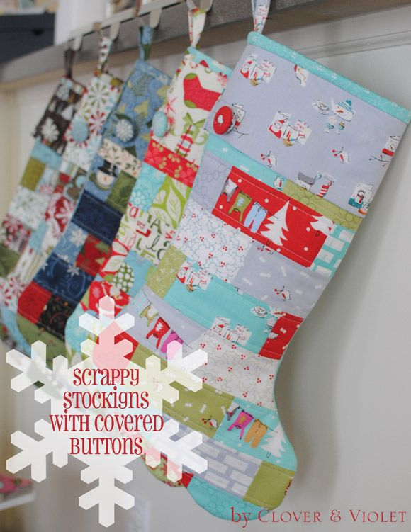 Scrappy Stockings with Covered Button {Tutorial} | Very Merry Moda ... : quilted christmas stocking tutorial - Adamdwight.com