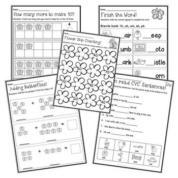 Spring Centers: 17 Math and Literacy centers for