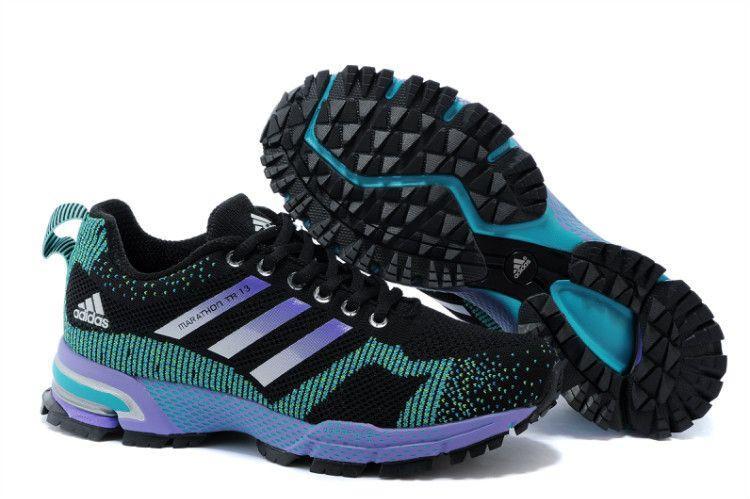 hot sale online 02b77 65b94 Adidas Marathon TR 13 18 Flyknit Black Turquoise Purple   Women ...