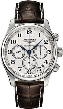 Longines Master Silver Dial Croco Strap Brown
