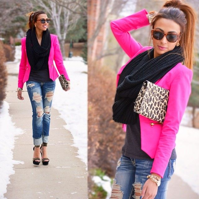 how to wear a hot pink blazer