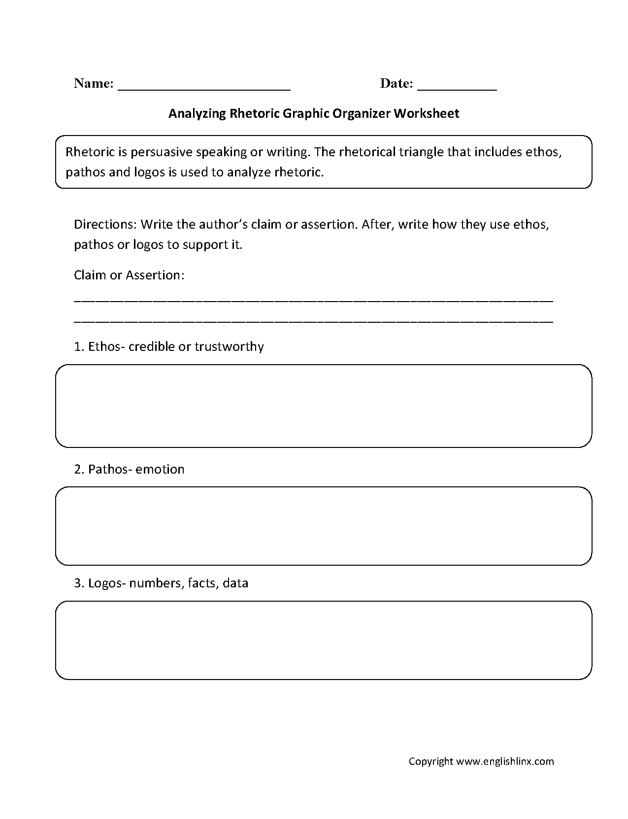 Rhetoric Graphic Organizers Worksheet