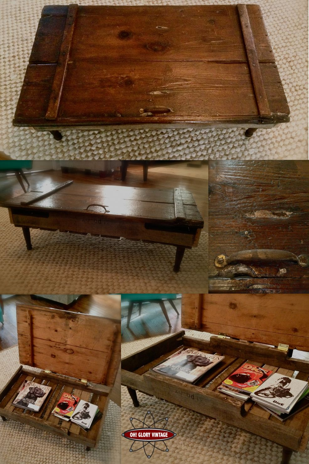 Barn Door Coffee Table. I like there is some more space. But I don't like the handle, it's not good for coffee table...