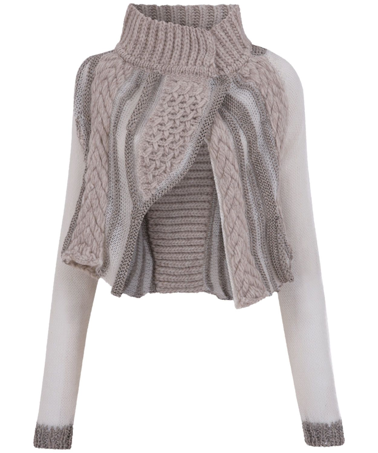 Beige Chunky Knit Cropped Cardigan, Crea Concept. | Knitwear ...