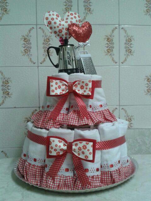 Cake Design Prato : Bolo cha de cozinha- pano de prato meus trabalhos ...