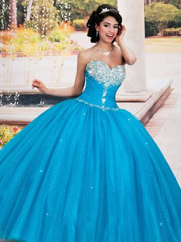 Blue Quinceanera Dresses - Blue Princess Dress Jeweled Bust OMG!!! lol I want this one
