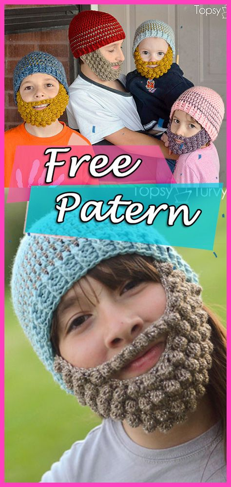 Bobble Bearded Beanie Crochet Free Pattern – DIY Hat | Incredible ...