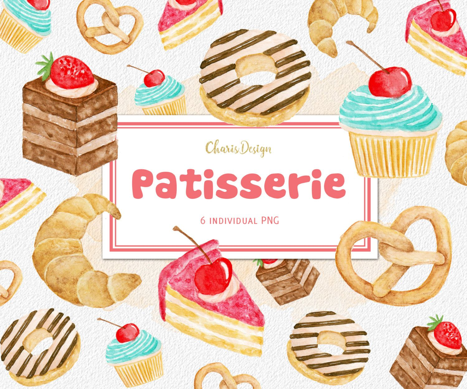 Patisserie pastry watercolor clipart illustration cake