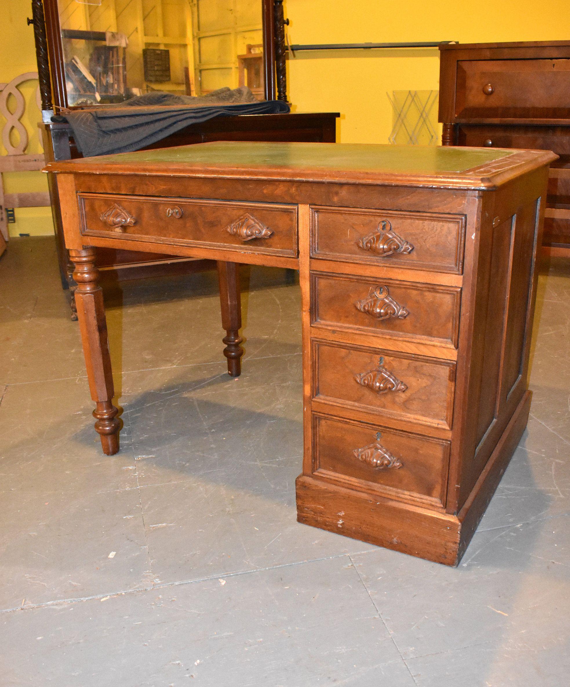 Antique Oak Leather Top Kneehole Vintage Desk by