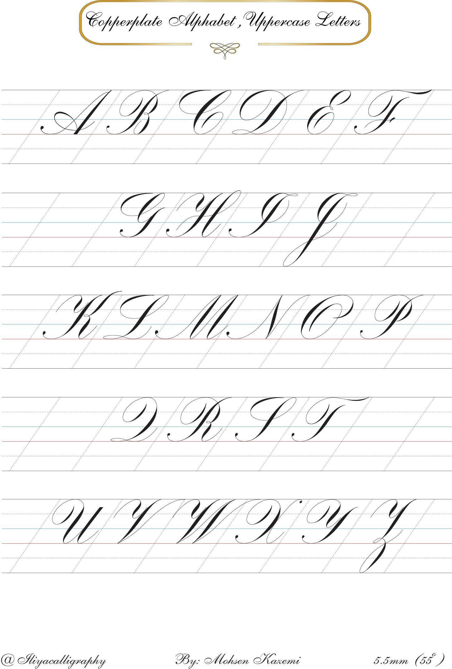 Copperplate Alphabet Copperplate Calligraphy Calligraphy Letters Hand Lettering Alphabet