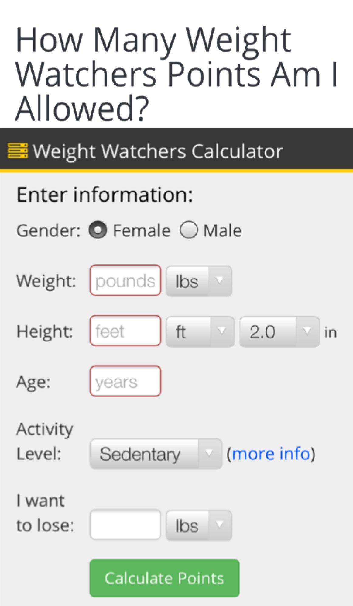 How many weight watchers points am  allowed it depends on if you are male female age height use this calculator to find out also determine your total daily allowance health diet rh pinterest