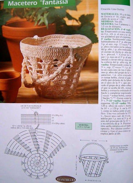 Macetero tejido al crochet con explicación paso a paso